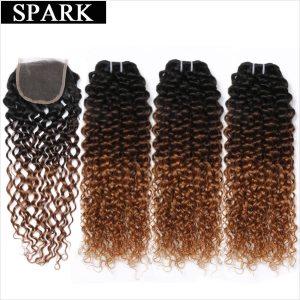 Ombre SPARK Brazilian Human Hair Weave Bundles With Closure Afro Kinky Curly Hair With Closure Medium Innrech Market.com