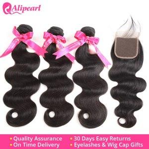 Peruvian Human Hair 3 Bundles With Lace Closure Body Wave Bundles With Closure 4x4 Free Middle Innrech Market.com