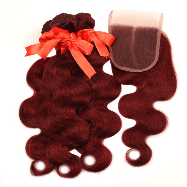 Pinshair 99J Hair Red Burgundy Bundles With Closure Brazilian Body Wave Human Hair Weave Bundles With 4 Pinshair 99J Hair Red Burgundy Bundles With Closure Brazilian Body Wave Human Hair Weave Bundles With Closure Non Remy No Tangle