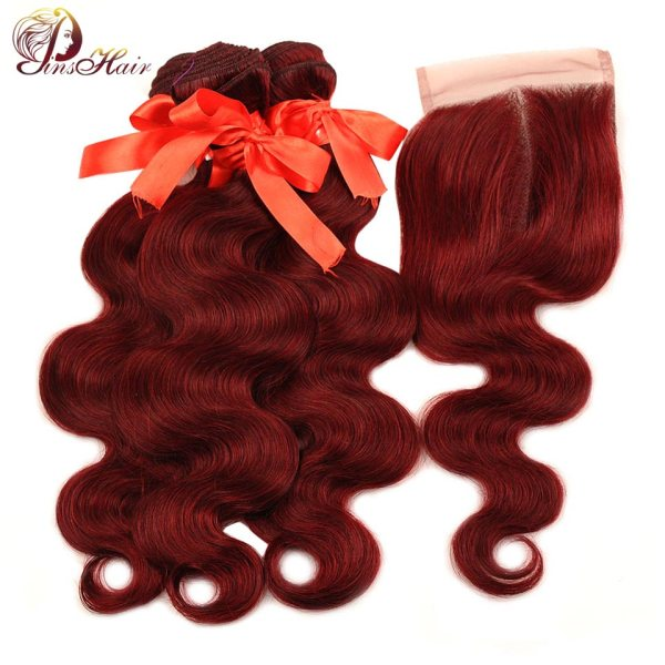 Pinshair 99J Hair Red Burgundy Bundles With Closure Brazilian Body Wave Human Hair Weave Bundles With Pinshair 99J Hair Red Burgundy Bundles With Closure Brazilian Body Wave Human Hair Weave Bundles With Closure Non Remy No Tangle