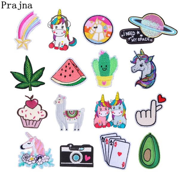 Prajna Cartoon Unicorn Planet Things Iron On Patches For Clothing Embroidery Stripe On Clothes Cute DIY Prajna Cartoon Unicorn Planet Things Iron On Patches For Clothing Embroidery Stripe On Clothes Cute DIY Sequin Applique Badge