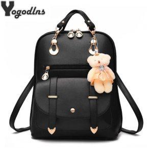 Preppy Style Women Backpack Bear Toys PU Leather Schoolbags for Teenage Girls Female Rucksack Shoulder Bag Innrech Market.com