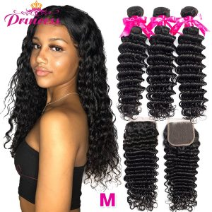 Princess Hair Deep Wave Bundles With Closure Double Weft Human Hair Brazilian Hair Weave 3 Bundles Innrech Market.com