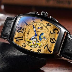 SEWOR New Black Gold Tonneau Tourbillon Automatic Mechanical Watch Men Genuine Leather Strap Men Clock Male Innrech Market.com