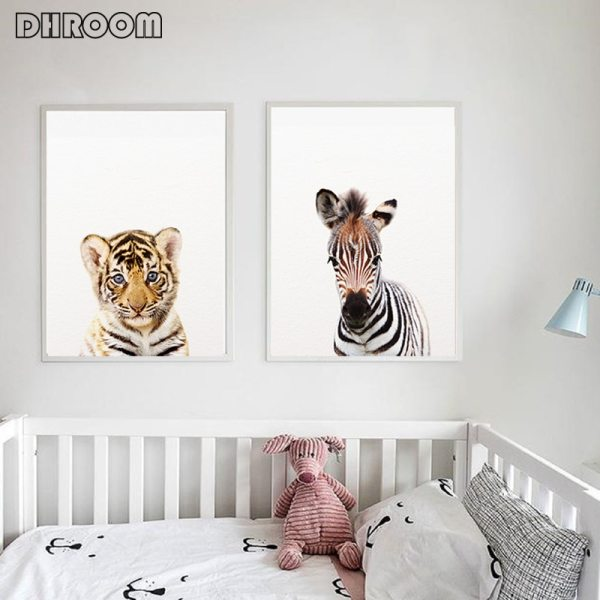 Safari Baby Animals Canvas Poster Nursery Lion Tiger Wall Art Print Modern Animal Painting Nordic Kid 3 Safari Baby Animals Canvas Poster Nursery Lion Tiger Wall Art Print Modern Animal Painting Nordic Kid Bedroom Decoration Picture