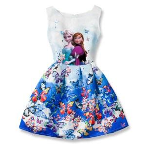 Summer Anna Elsa Dress for Girls Anna Butterfly Print Girls Dress Teenagers Princess Dress Party Elza Innrech Market.com