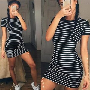 Summer Casual Striped O neck Short sleeved Dress Black And White Striped Dresses Casual Elegant Sheath Innrech Market.com