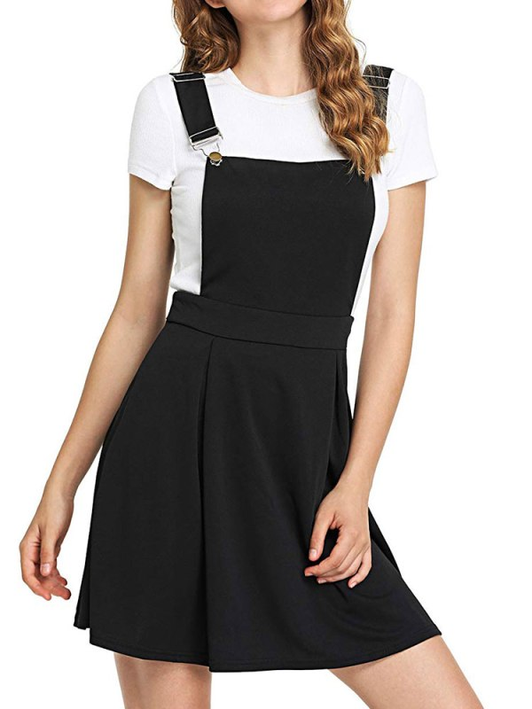 Summer Women Mini Party Dress 2019 Casual Sleeveless Zip Up Back Pinafore Dress Autumn Black Pleated 1 Summer Women Mini Party Dress 2019 Casual Sleeveless Zip Up Back Pinafore Dress Autumn Black Pleated Overall Dress Plus Size