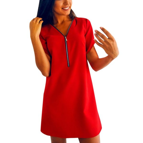 Summer Women s Clothing Ladies Short Sleeve V Neck Zipper Solid Color Dress Casual Comfortable Tops 1 Summer Women's Clothing Ladies' Short Sleeve V-Neck Zipper Solid Color Dress Casual Comfortable Tops Dress For Home Dress #BL0