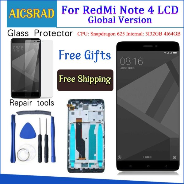 Tested LCD Display Frame For Xiaomi Redmi Note 4 Global Version Snapdragon 625 Touch Screen LCD Tested LCD Display +Frame For Xiaomi Redmi Note 4 Global Version Snapdragon 625 Touch Screen LCD Digitizer Redmi Note 4X