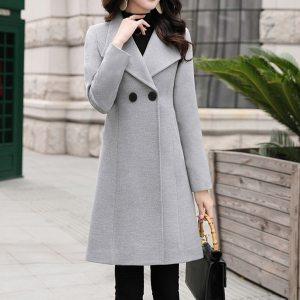 Trendy Solid Winter Women Coats 2019 Autumn office Solid Color Overcoat Casual Turn down Collar Slim Innrech Market.com