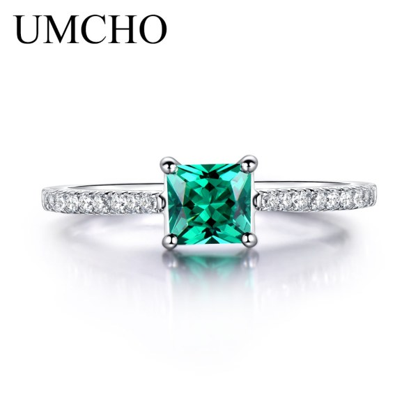 UMCHO Green Emerald Gemstone Rings for Women Genuine 925 Sterling Silver Fashion May Birthstone Ring Romantic 1 UMCHO Green Emerald Gemstone Rings for Women Genuine 925 Sterling Silver Fashion May Birthstone Ring Romantic Gift Fine Jewelry
