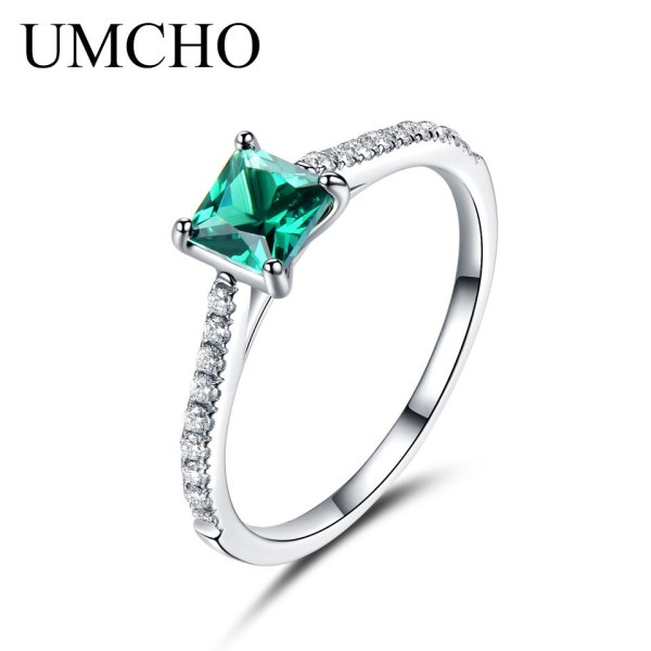 UMCHO Green Emerald Gemstone Rings for Women Genuine 925 Sterling Silver Fashion May Birthstone Ring Romantic 3 UMCHO Green Emerald Gemstone Rings for Women Genuine 925 Sterling Silver Fashion May Birthstone Ring Romantic Gift Fine Jewelry