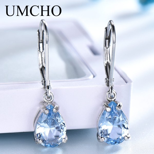 UMCHO Solid 925 Sterling Silver Clip Earrings For Women Sky Blue Topaz Gemstone Wedding Fashion Fine UMCHO Solid 925 Sterling Silver Clip Earrings For Women Sky Blue Topaz Gemstone Wedding Fashion Fine Jewelry Valentine's Gift