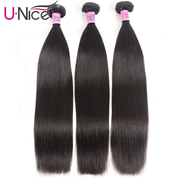 UNice Hair Transparent Lace With Closure 8 30 Malaysian Straight Hair 3 Bundles with Closure Remy 2 UNice Hair Transparent Lace With Closure 8-30 Malaysian Straight Hair 3 Bundles with Closure Remy Human Hair Extension Bundles