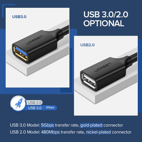 Ugreen USB Extension Cable USB 3 0 Cable for Smart TV PS4 Xbox One SSD USB3 5 Ugreen USB Extension Cable USB 3.0 Cable for Smart TV PS4 Xbox One SSD USB3.0 2.0 to Extender Data Cord Mini USB Extension Cable