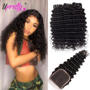 Upretty Hair Brazilian Hair Weave Bundles With Closure 3 Bundle With Lace Closure Remy Human Hair Innrech Market.com