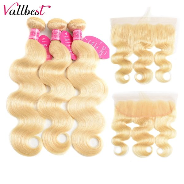 Vallbest 613 Bundles With Frontal Brazilian Body Wave 3 Bundles With Closure Remy Human Hair Blonde Vallbest 613 Bundles With Frontal Brazilian Body Wave 3 Bundles With Closure Remy Human Hair Blonde Bundles With Frontal Closure