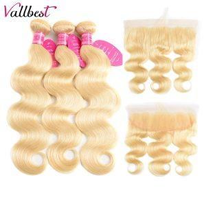 Vallbest 613 Bundles With Frontal Brazilian Body Wave 3 Bundles With Closure Remy Human Hair Blonde Innrech Market.com