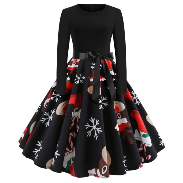 Winter Christmas Dresses Women Elk and snowflakes Vintage Pinup Elegant Party Dress Long Sleeve Casual Plus Winter Christmas Dresses Women Elk and snowflakes Vintage Pinup Elegant Party Dress Long Sleeve Casual Plus Size Print Black