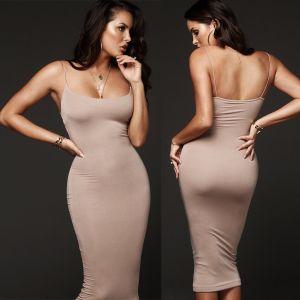 Women Bodycon Slim Sexy Midi Dress 2018 Summer Hot Evening Ladies Solid Strappy Party Clubwear Pencil Innrech Market.com