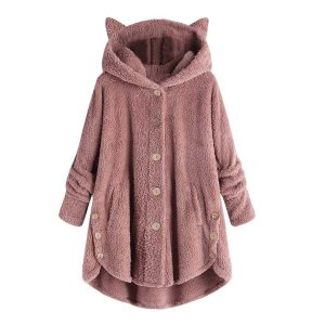 Women Flannel Coat Pockets Solid fleece Tops Hooded Pullover Loose Hoodies Plus Size Cat Ear Cute 3 Innrech Market.com