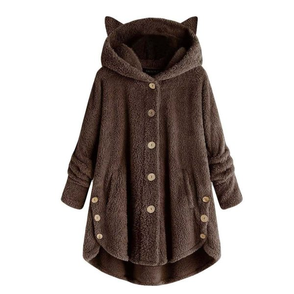 Women Flannel Coat Pockets Solid fleece Tops Hooded Pullover Loose Hoodies Plus Size Cat Ear Cute 4 Women Flannel Coat Pockets Solid fleece Tops Hooded Pullover Loose Hoodies Plus Size Cat Ear Cute Womens Warm Sweatshirt 2019