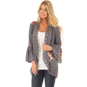 Women Plus Size Loose Casual Basic Jackets Female 2018 Autumn Long Flare Sleeve Floral Print Outwear Innrech Market.com