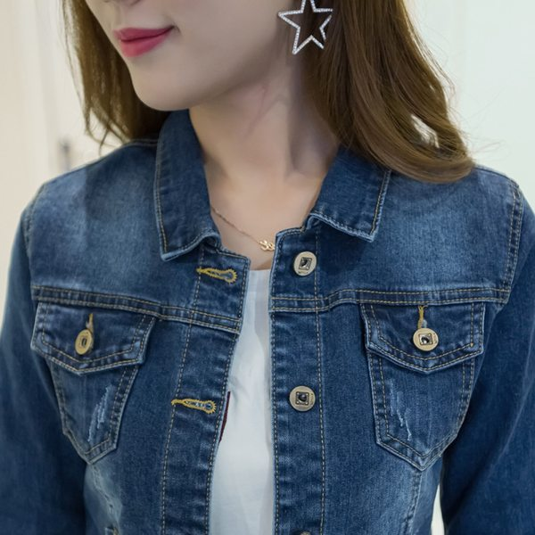 Women Short Jeans Jacket Slim Turn Down Collar Long Sleeve Button Denim Outwear New Chic Vintage 3 Women Short Jeans Jacket Slim Turn Down Collar Long Sleeve Button Denim Outwear New Chic Vintage