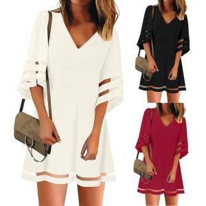 Women s V Neck Mesh Panel Blouse Three Quarter Bell Sleeve Loose Top White Black Red Innrech Market.com