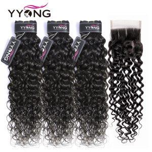 YYong Hair Brazilian Hair Weave Bundles With Closure Water Wave 3 Bundles With Closure Remy Human Innrech Market.com