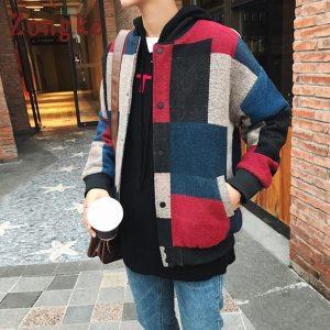 Zongke Woolen Plaid Bomber Jacket Men Fashions Hip Hop Streetwear Winter Jacket Men Coat Men Jacket Innrech Market.com