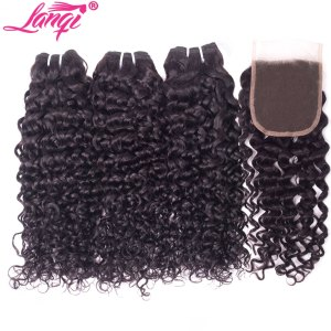 lanqi Peruvian hair bundles with closure nonremy human hair weave bundles with closure Brazilian water wave Innrech Market.com