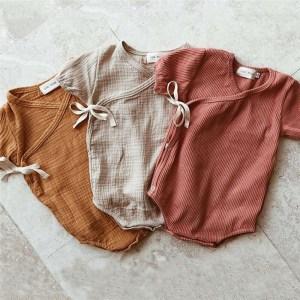 0 18M Newborn Kids Baby Boy Girls Clothes Summer Short Sleeve Plain Romper Elegant Casual Cute Innrech Market.com