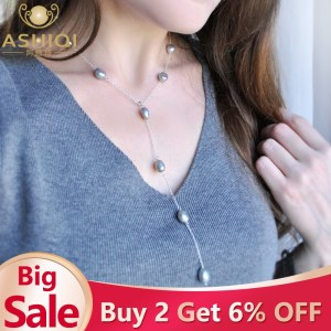 ASHIQI 2019 Real 925 Sterling Silver Long Chain Necklace 9 10mm Natural Baroque Freahwater Pearl Jewelry Innrech Market.com