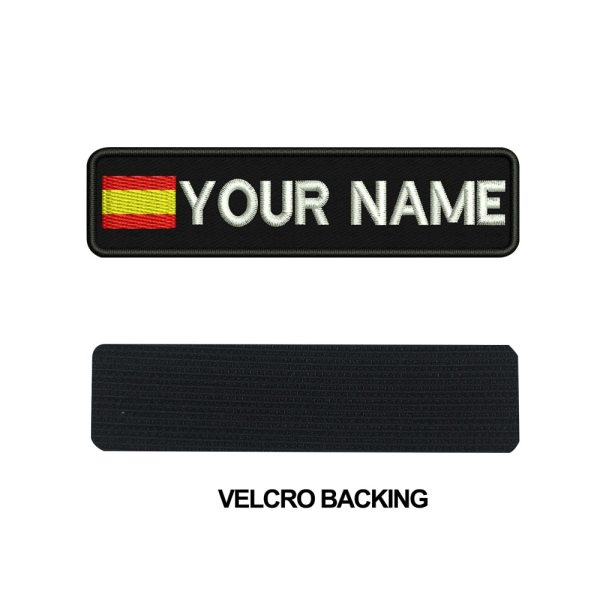Custom SPAIN name patches tags personalized iron on hook backing 4 Custom SPAIN name patches tags personalized iron on hook backing