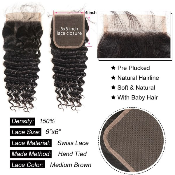 Deep Wave Human Hair Bundles With Closure 6x6 Free Part Pre Plucked Brazilian Bundles With Closure 2 Deep Wave Human Hair Bundles With Closure 6x6 Free Part Pre Plucked Brazilian Bundles With Closure Remy Hair Extension AliPearl