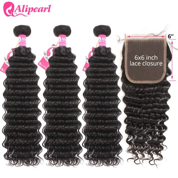 Deep Wave Human Hair Bundles With Closure 6x6 Free Part Pre Plucked Brazilian Bundles With Closure Deep Wave Human Hair Bundles With Closure 6x6 Free Part Pre Plucked Brazilian Bundles With Closure Remy Hair Extension AliPearl