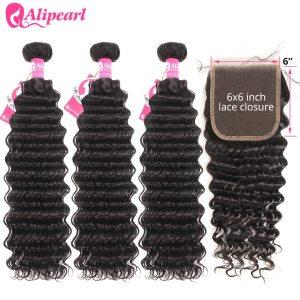 Deep Wave Human Hair Bundles With Closure 6x6 Free Part Pre Plucked Brazilian Bundles With Closure Innrech Market.com