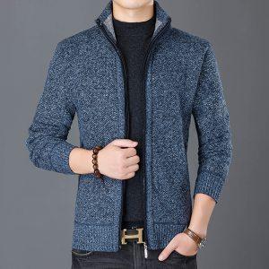 Fashion Wind Breaker Jackets Men Stand Collar Thicken Fleece Jacket Solid Knit Overcoat Cardigan Male Coat Innrech Market.com