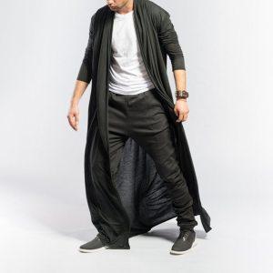 Feitong Men s Cardigans Casual Slim Solid Long Shirt Tops Long Coat Outerwear Plus Size Innrech Market.com