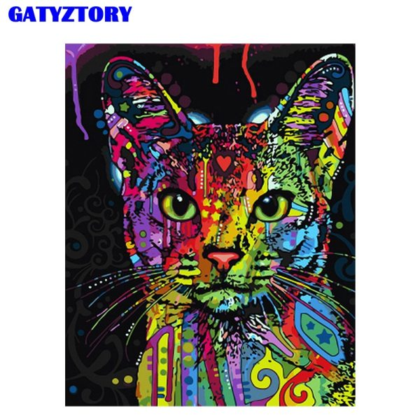 Frameless Abstract Colorful Cat Animals DIY Painting By Numbers Hand Painted Oil Painting For Wall Art Frameless Abstract Colorful Cat Animals DIY Painting By Numbers Hand Painted Oil Painting For Wall Art Picture Home Decoration