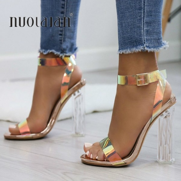 2019 Fashion PVC Women Sandals Summer Open Toed High Heels Women Transparent Heel Sandals Woman Party Fashion PVC Women Sandals Summer Open Toed High Heels Women Transparent Heel Sandals Woman Party Shoes Discount Pumps 11CM