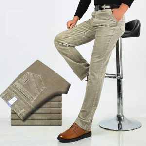 Autumn Winter Warm Men Stretch Corduroy Pants Loose Straight Slacks Long Business Casual Pants High Thicken Innrech Market.com