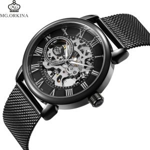 Coupons Sale Men Watches Mechanical Hand Wind Luxury Top Brand ORKINA Skeleton Stainless Steel Bracelet Mesh Innrech Market.com