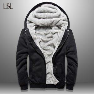 LBL Winter Mens Fleece Jacket Thick Solid Bomber Jackets Men Slim Fit Hooded Coat Man Autumn Innrech Market.com