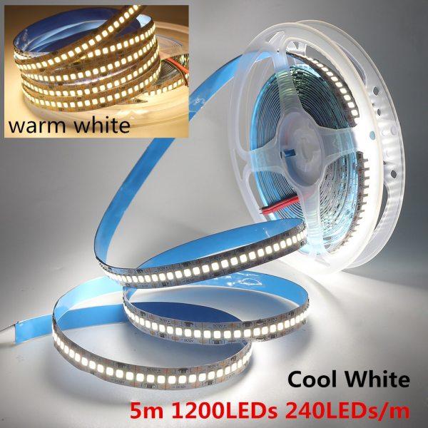 LED Strip 2835 SMD 240LEDs m 5M 300 600 1200 Leds DC12V High Bright Flexible LED 1 LED Strip 2835 SMD 240LEDs/m 5M 300/600/1200 Leds DC12V High Bright Flexible LED Rope Ribbon Tape Light Warm White / Cold White