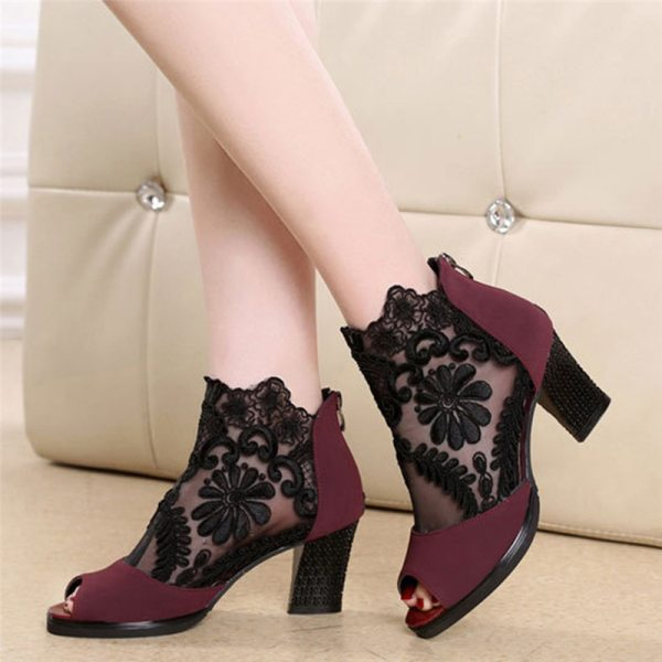 Lucyever Women Sandals Square High Heel Summer Shoes Woman Sexy Flower Lace Hollow Peep Toe Gladiator 1 Lucyever Women Sandals Square High Heel Summer Shoes Woman Sexy Flower Lace Hollow Peep Toe Gladiator Sandalias Plus Size 35-43