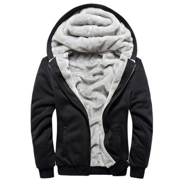 Men Hooded Jacket 2019 Warm Causal Fleece Hooded Outerwear Coats Male Autumn Winter Solid Thick Zipper 4 Men Hooded Jacket 2019 Warm Causal Fleece Hooded Outerwear Coats Male Autumn Winter Solid Thick Zipper Jackets Casacos Masculino