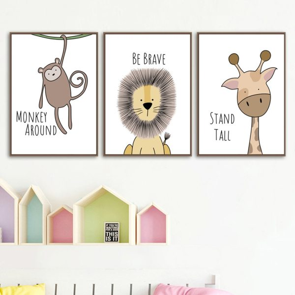 Nordic Style Painting Cartoon Animal Prints Canvas Home Decoration Wall Art Modular Pictures Watercolor Poster For 1 Nordic Style Painting Cartoon Animal Prints Canvas Home Decoration Wall Art Modular Pictures Watercolor Poster For Kids Room